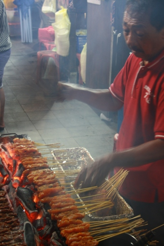Sate on the grill